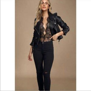 Free People Showoff Lace Bow Bodysuit NWT